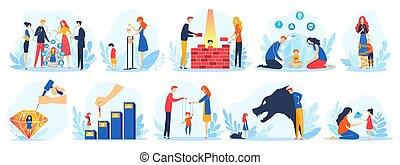 gyerekek, betűk, kommunikáció, gyermek, parenting, kérdéses, anya, atya, vektor, állhatatos, probléma, karikatúra, ábra, szülők, bír