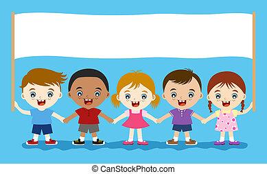 gyerekek, birtok, üres, transzparens