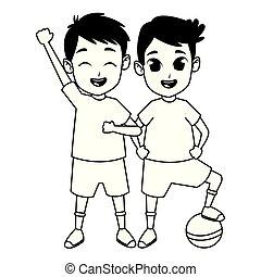 gyerekek, birtoklás, fekete, móka, fehér, játék