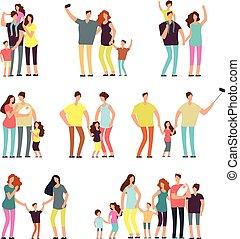 gyerekek, család, emberek, párosít, elszigetelt, játék, vektor, szülők, felnőtt, groups., karikatúra, boldog