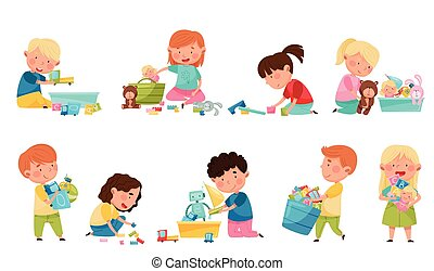 gyerekek, csinos, állhatatos, apró, különböző, gyerekszoba, játék, vektor, ábra