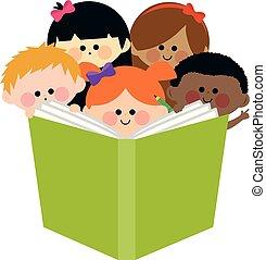 gyerekek, csoport, ábra, vektor, book., felolvasás