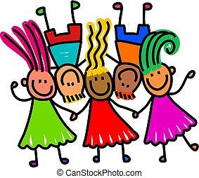 gyerekek, csoport, boldog