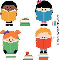 gyerekek, csoport, books., ábra, vektor, felolvasás