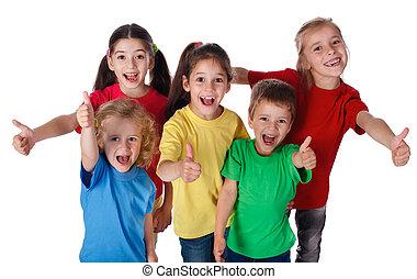 gyerekek, csoport, feláll, lapozgat, aláír