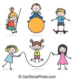 gyerekek, csoport, játék