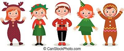 gyerekek, csoport, jelmezbe öltöztet, karácsony