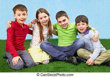 gyerekek, csoport