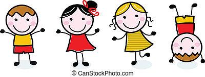gyerekek, csoport, szórakozottan firkálgat, elszigetelt, fehér, boldog