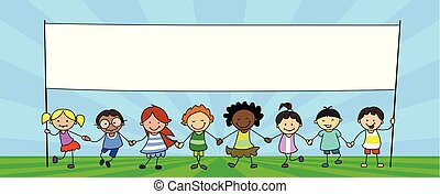 gyerekek, csoport, transzparens, ábra, hatalom kezezés, gyerekek