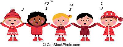 gyerekek, dal, multicultural, caroling, mosolygós, éneklés, boldog