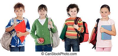 gyerekek, diákok, csoport