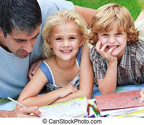 gyerekek, -eik, rajz, mosolygós, atya