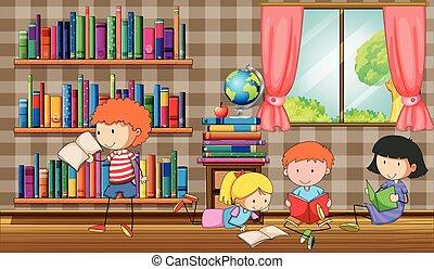 gyerekek, előjegyez, felolvasás, könyvtár