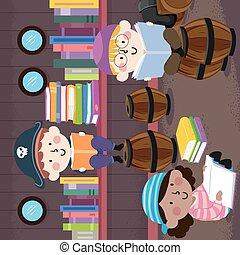 gyerekek, előjegyez, könyvtár, kalóz, olvas, ábra