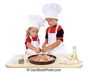 gyerekek, előkészítő, pizza