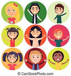 gyerekek, elszigetelt, vektor, különféle, alakzat, etnikai