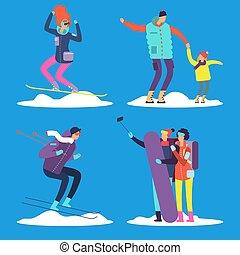 gyerekek, emberek, outdoor., ábra, vektor, felnőtt, síelés, snowboarding