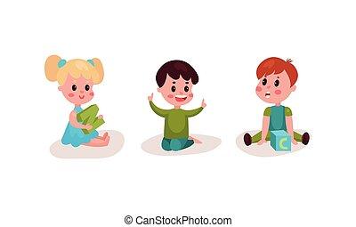 gyerekek, emelet, ülés, állhatatos, vektor, ábra, kevés, abc, játék, eltöm