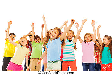 gyerekek, emelkedik, éljenzés, kézbesít, mosolyog vidám