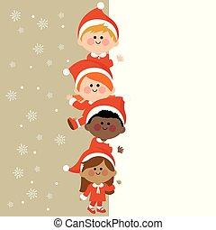 gyerekek, függőleges, banner., öltözött, jelmezbe öltöztet, ábra, vektor, tiszta, karácsony