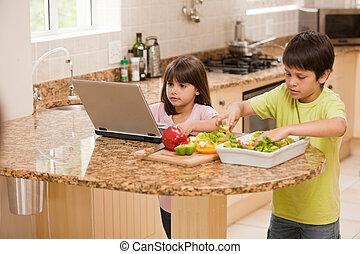 gyerekek, főzés, konyha