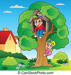 gyerekek, fa, kert, két