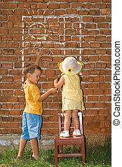 gyerekek, fal, napos, ablak, tégla, rajz