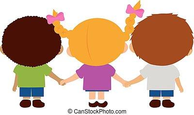 gyerekek, fenék, birtok, hands., ábra, kilátás, vektor