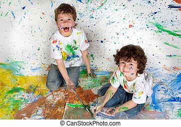 gyerekek, festmény, játék