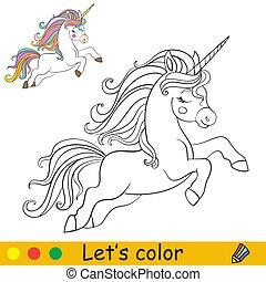 gyerekek, futás, egyszarvú, színezés, karikatúra, vektor