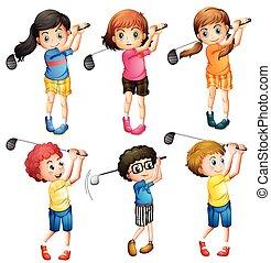 gyerekek, golf, játék