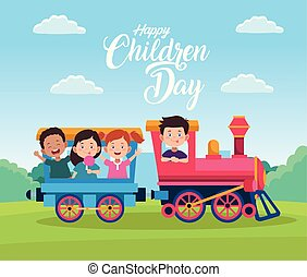 gyerekek, gyerekek, nap, kiképez, boldog, játék, ünneplés