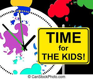 gyerekek, gyermek, jelez, helyes, idő, jelenleg