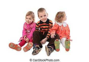 gyerekek, három, ülés