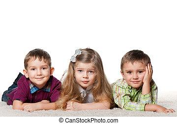 gyerekek, három, szőnyeg