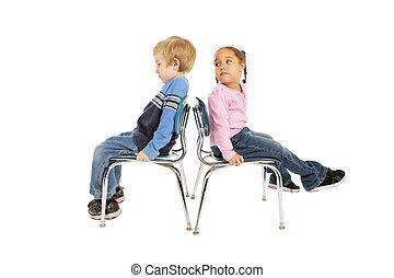 gyerekek, hát, két, ülés