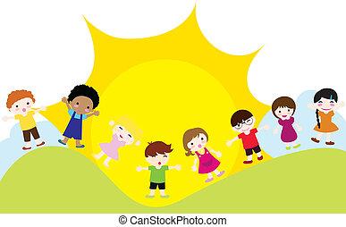 gyerekek, háttér, boldog