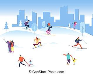 gyerekek, háttér emberek, tél, outdoor., család, ábra, vektor, felnőtt, vidám, síelés, snowboarding, karácsony, park.