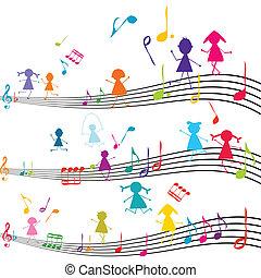 gyerekek, hangjegy, játék, jegyzet, zene, zenés