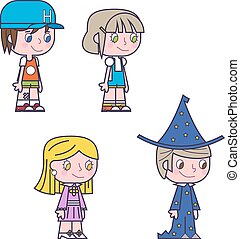 gyerekek, ikonok, lány, ábra, gyerekek, fiú, vektor, retro, karikatúra