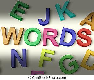 gyerekek, irodalomtudomány, többszínű, írott, szavak, műanyag