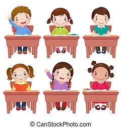gyerekek, izbogis, asztal, ülés