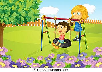 gyerekek, játék, hinta, kert