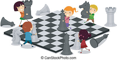 gyerekek, játék sakkjáték