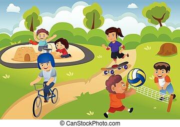 gyerekek, játszótér, játék