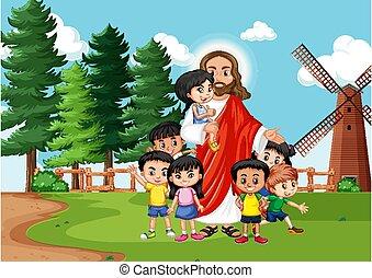 gyerekek, jézus, liget
