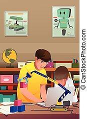gyerekek, kísérlet, robotic