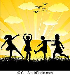 gyerekek, körvonal, húzott, kéz, fényes, játék, nap