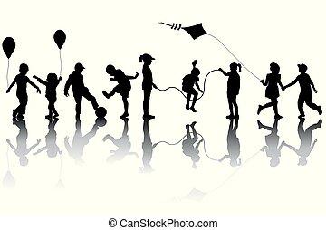 gyerekek, körvonal, léggömb, papírsárkány, játék